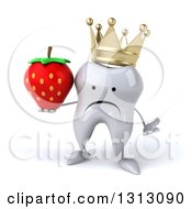 Clipart Of A 3d Unhappy Crowned Tooth Character Shrugging And Holding A Strawberry Royalty Free Illustration