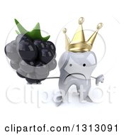 Clipart Of A 3d Unhappy Crowned Tooth Character Holding Up A Thumb Down And A Blackberry Royalty Free Illustration