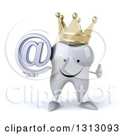 Clipart Of A 3d Happy Crowned Tooth Character Holding An Email Arobase At Symbol And Giving A Thumb Up Royalty Free Illustration