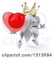 Clipart Of A 3d Unhappy Crowned Tooth Character Facing Slightly Right Jumping And Holding A Love Heart Royalty Free Illustration