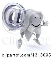 Clipart Of A 3d Happy Tooth Character Facing Slightly Right Jumping And Holding An Email Arobase At Symbol Royalty Free Illustration
