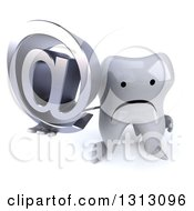 Clipart Of A 3d Unhappy Tooth Character Holding Up An Email Arobase At Symbol Royalty Free Illustration