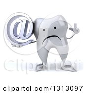 Clipart Of A 3d Unhappy Tooth Character Holding Up A Finger And An Email Arobase At Symbol Royalty Free Illustration
