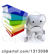 Clipart Of A 3d Unhappy Tooth Character Holding Up A Stack Of Books Royalty Free Illustration