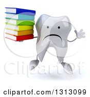 Clipart Of A 3d Unhappy Tooth Character Jumping And Holding A Stack Of Books Royalty Free Illustration