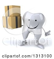 Clipart Of A 3d Happy Tooth Character Shrugging And Holding Boxes Royalty Free Illustration