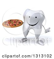 Clipart Of A 3d Happy Tooth Character Shrugging And Holding A Pizza Royalty Free Illustration