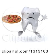 Clipart Of A 3d Unhappy Tooth Character Jumping And Holding A Pizza Royalty Free Illustration