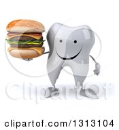 Clipart Of A 3d Happy Tooth Character Holding A Double Cheeseburger Royalty Free Illustration
