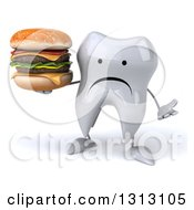Clipart Of A 3d Unhappy Tooth Character Shrugging And Holding A Double Cheeseburger Royalty Free Illustration