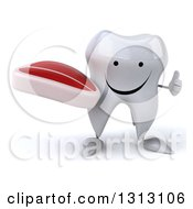 Clipart Of A 3d Happy Tooth Character Giving A Thumb Up And Holding A Beef Steak Royalty Free Illustration