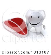 Clipart Of A 3d Happy Tooth Character Holding Up A Beef Steak Royalty Free Illustration