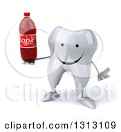 Clipart Of A 3d Happy Tooth Character Shrugging And Holding A Soda Bottle Royalty Free Illustration