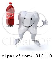 Clipart Of A 3d Happy Tooth Character Jumping And Holding A Soda Bottle Royalty Free Illustration