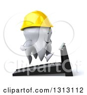 Clipart Of A 3d Happy Contractor Tooth Character Facing Right And Running On A Treadmill Royalty Free Illustration