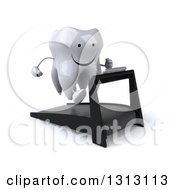 Clipart Of A 3d Happy Tooth Character Facing Slightly Right And Running On A Treadmill Royalty Free Illustration