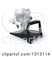 Clipart Of A 3d Unhappy Tooth Character Facing Slightly Right Holding Plans And Running On A Treadmill Royalty Free Illustration