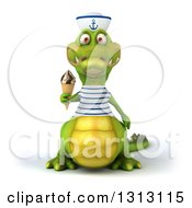Clipart Of A 3d Sailor Crocodile Holding A Waffle Ice Cream Cone Royalty Free Illustration