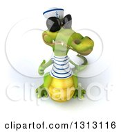 Clipart Of A 3d Sailor Crocodile Wearing Sunglasses And Holding Up A Thumb Royalty Free Illustration