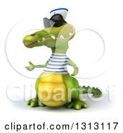 Clipart Of A 3d Sailor Crocodile Wearing Sunglasses And Presenting To The Left 2 Royalty Free Illustration