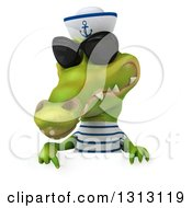 Clipart Of A 3d Sailor Crocodile Wearing Sunglasses And Pointing Down Over A Sign Royalty Free Illustration