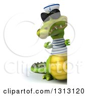 Clipart Of A 3d Full Length Sailor Crocodile Wearing Sunglasses And Pointing Around A Sign Royalty Free Illustration