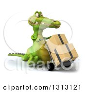 Clipart Of A 3d Crocodile Walking Slightly Right And Moving Boxes On A Dolly Royalty Free Illustration