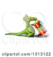 Clipart Of A 3d Crocodile Walking To The Right And Pushing Gifts On A Dolly Royalty Free Illustration