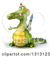 Clipart Of A 3d Crocodile Nurse Presenting To The Left And Holding A Vaccine Syringe Royalty Free Illustration