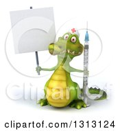 Clipart Of A 3d Crocodile Nurse Holding A Blank Sign And A Vaccine Syringe Royalty Free Illustration
