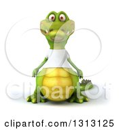 Clipart Of A 3d Casual Crocodile Wearing A White T Shirt Royalty Free Illustration