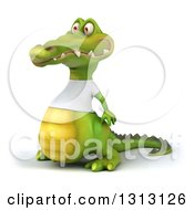 Clipart Of A 3d Casual Crocodile Wearing A White T Shirt Facing Left Royalty Free Illustration