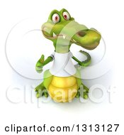 Clipart Of A 3d Casual Crocodile Wearing A White T Shirt Holding Up A Thumb Royalty Free Illustration