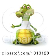 Clipart Of A 3d Casual Crocodile Wearing A White T Shirt Presenting To The Left Royalty Free Illustration