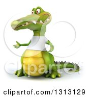 Clipart Of A 3d Casual Crocodile Wearing A White T Shirt Presenting To The Left 2 Royalty Free Illustration