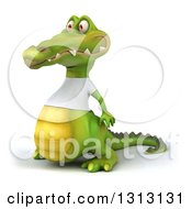 Clipart Of A 3d Casual Crocodile Wearing A White T Shirt Facing Left 2 Royalty Free Illustration