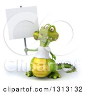Clipart Of A 3d Casual Crocodile Wearing A White T Shirt Holding A Blank Sign Royalty Free Illustration