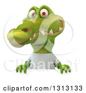 Clipart Of A 3d Casual Crocodile Wearing A White T Shirt Over A Sign Royalty Free Illustration