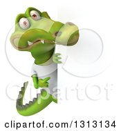 Clipart Of A 3d Casual Crocodile Wearing A White T Shirt Pointing Around A Sign Royalty Free Illustration