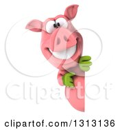Clipart Of A 3d Happy Gardener Pig Pointing Around A Sign Royalty Free Illustration