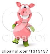 Clipart Of A 3d Happy Gardener Pig Walking Royalty Free Illustration