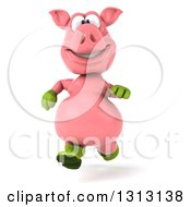 Clipart Of A 3d Happy Gardener Pig Running Royalty Free Illustration by Julos