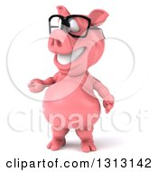 Clipart Of A 3d Happy Bespectacled Pig Presenting To The Left Royalty Free Illustration