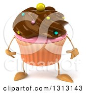 Clipart Of A 3d Chocolate Frosted Cupcake Character Royalty Free Illustration
