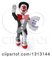 3d White And Black Clown Flying And Holding A Euro Symbol