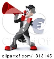 3d White And Black Clown Holding A Euro Symbol And Announcing To The Left With A Megaphone