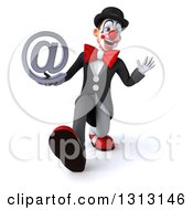 3d White And Black Clown Walking Waving And Holding An Email Arobase At Symbol
