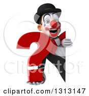 3d White And Black Clown Holding A Question Mark Around A Sign