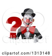 3d White And Black Clown Holding A Question Mark Over A Sign