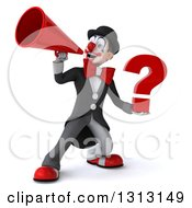 3d White And Black Clown Holding A Question Mark And Announcing With A Megaphone